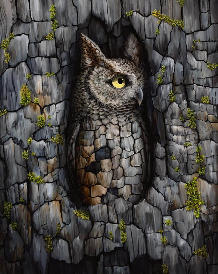 01-Wood-Owl-Jon-Ching-Animal-Oil-Paintings-www-designstack-co