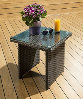 Luxury Outdoor Garden Square Side/End/Coffee Table Black Rattan /Glass