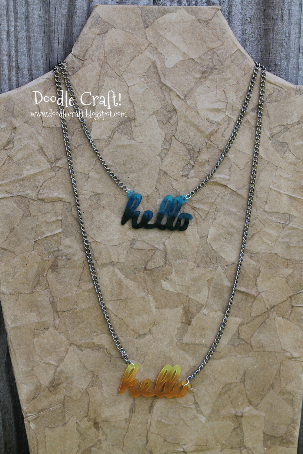 Doodlecraft Hello Custom Acrylic Word Necklace With Shrinky Dinks