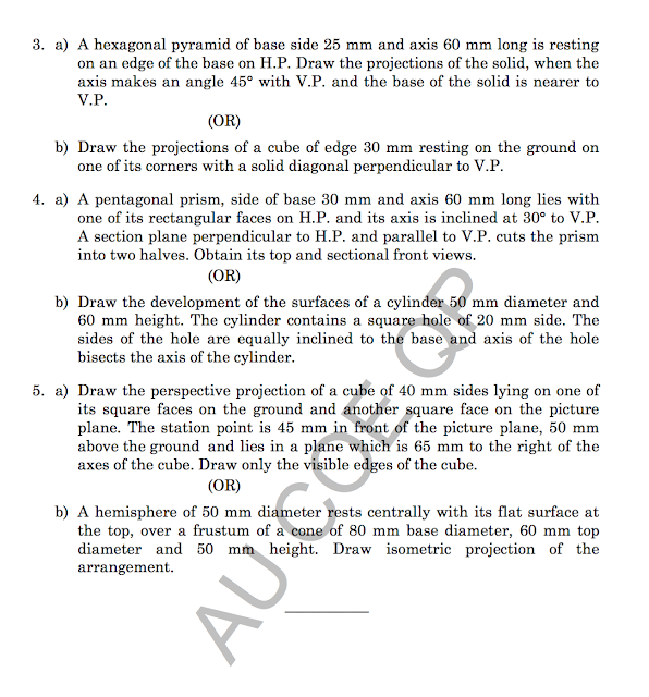 GE8152: Engineering Graphics Question Papers {New}