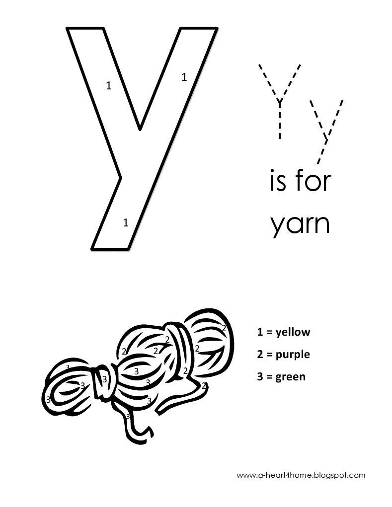 Kids Page: Alphabet Letter Y lowercase Coloring Pages