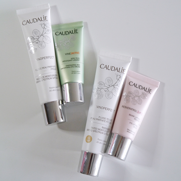 Caudalie Vinoperfect SPF 20 moisturizer, Vine Activ Energizing and Smoothing Eye Cream, Resveratrol Lift Eye Lifting Balm