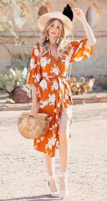 fashionable outfit idea / bag + floral dress + hat + heels