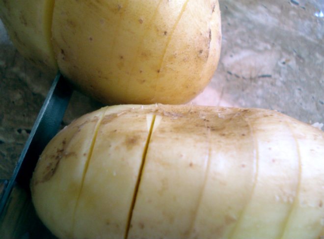 semi-slice potatoes