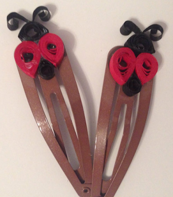 2015 red color Unique quilling paper hair accessories clip designs - quillingpaperdesigns