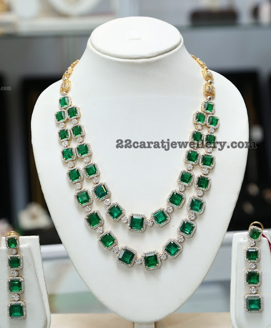 Two Rows Diamond Emerald Set by Sunitha