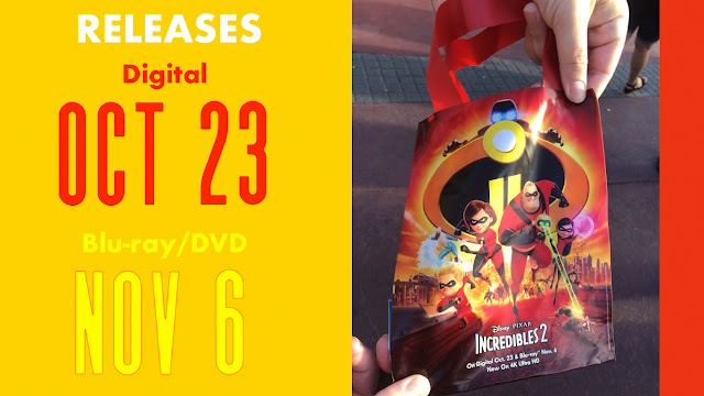 Incredibles 2 on blu ray November 6 and Digital Oct 23