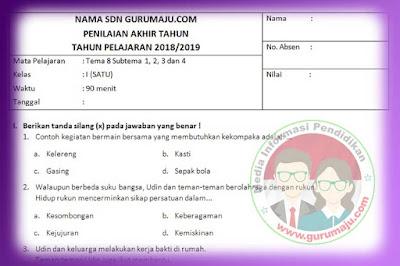 Soal PAT / UKK Kelas 2 Tema 8 Kurikulum 2013 Tahun 2019