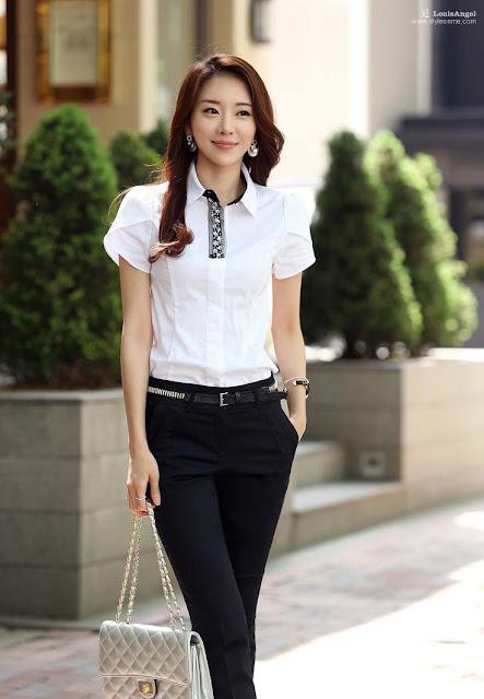 model baju kerja wanita lengan pendek terbaru