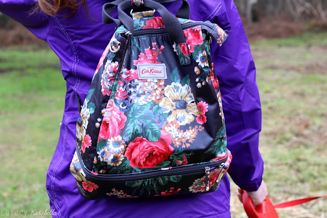 Cath Kidston Matt Oilcloth Double Decker Backpack Bloomsbury Bouquet Floral Black