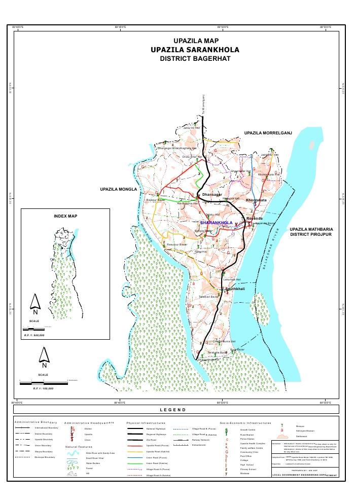 Sarankhola Upazila Map Bagerhat District Bangladesh
