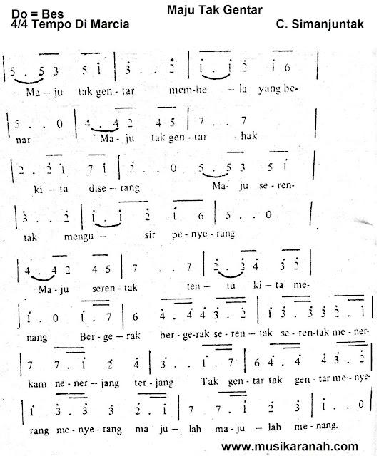 Lirik Lagu Maju Tak Gentar - Lagu Wajib Nasional