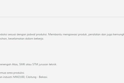 PT. LOTTE INDONESIA posisi Operator Produksi (Kawasan MM2100)