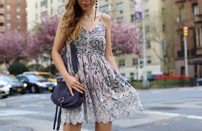 Parker Ikaris Scalloped Lace Dress, bebe earrings, see by chloe bag, tory burch wedge sandals, park avenue nyc, nyc street style, nyc fashion blog, spring style