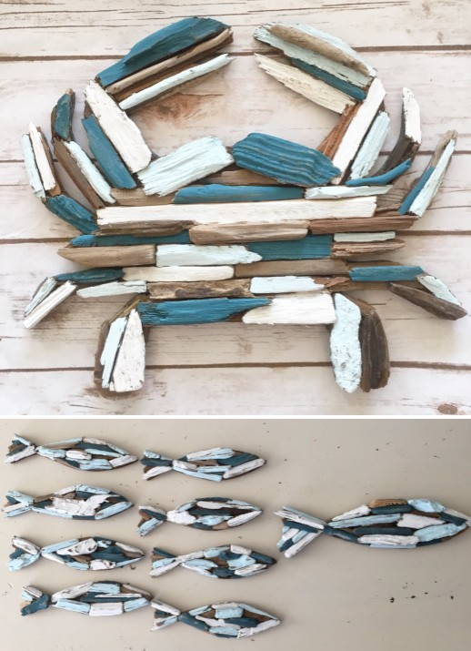 Painted Driftwood Sea Life Wall Art Sculptures