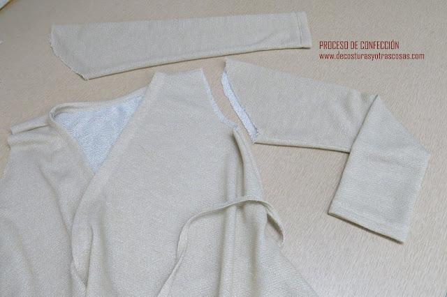 como coser mangas de punto