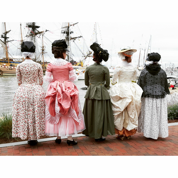Ladies visiting l'Hermione tall ship in Yorktown