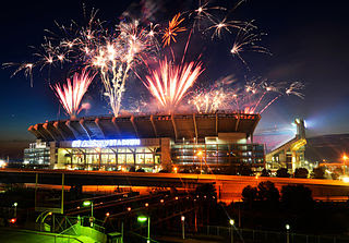 Photo of fireworks at Cleveland Stadium