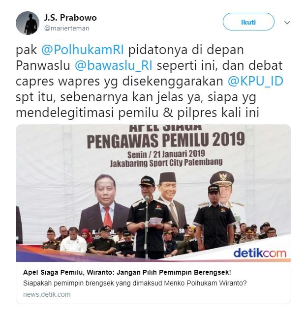 Soal Imbauan Wiranto, JS Prabowo: Jadi Jelas Kan Siapa Yang Delegitimasi Pemilu