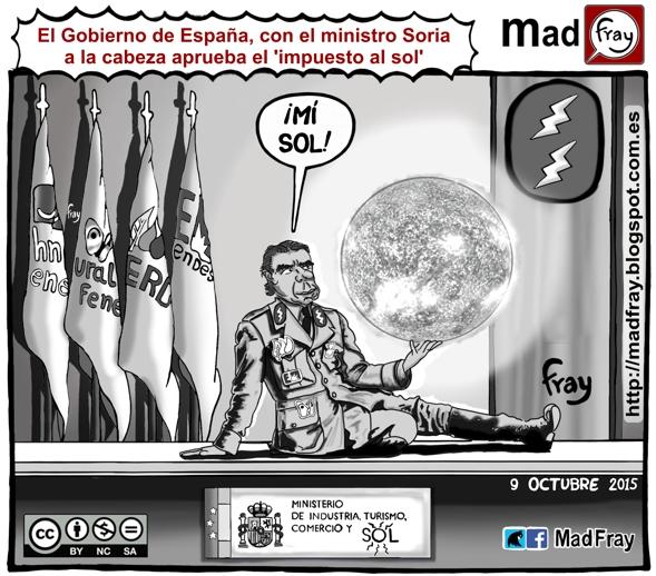 Viñeta, humor, ironía, El Gobierno de España, con el ministro Jose Manuel Soria a la cabeza aprueba el 'impuesto al sol'