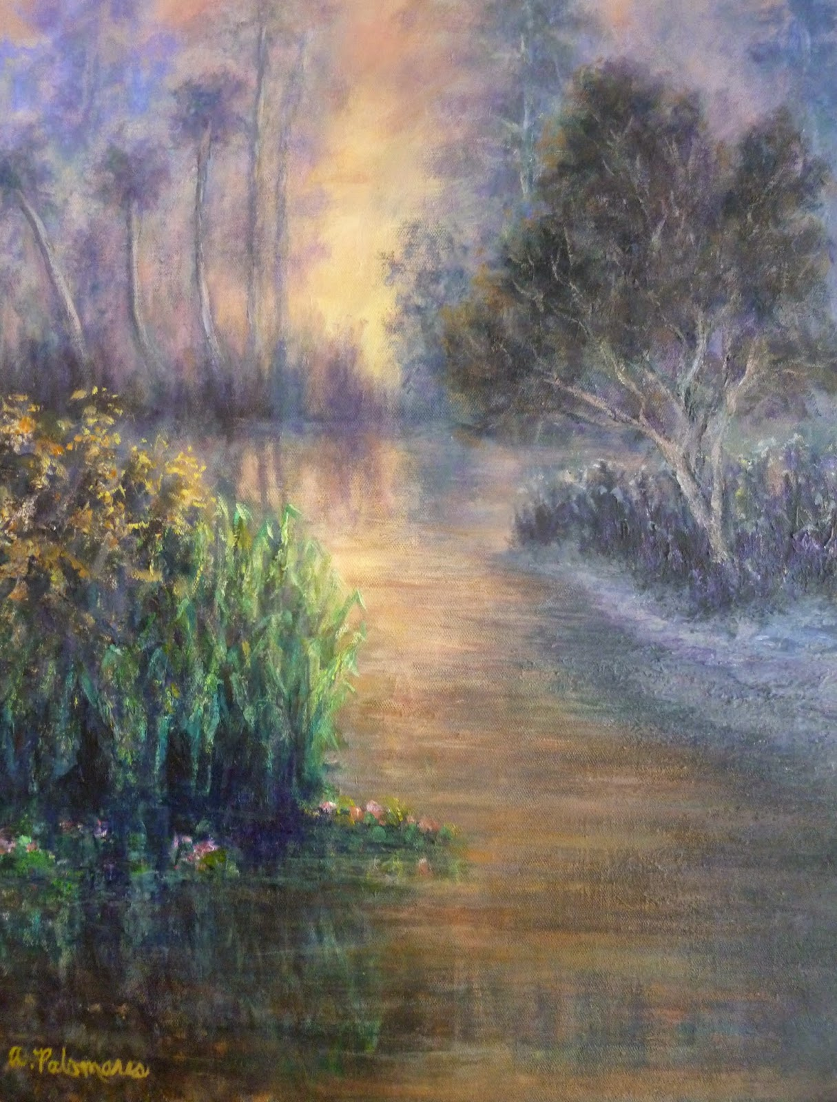 Coastal nature painting of a marsh at sunset