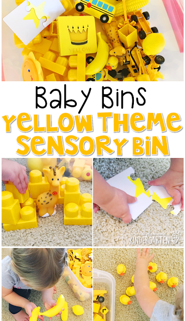 This yellow themed sensory bin is great for learning colors and is completely baby safe. These Baby Bin plans are perfect for learning with little ones between 12-24 months old.