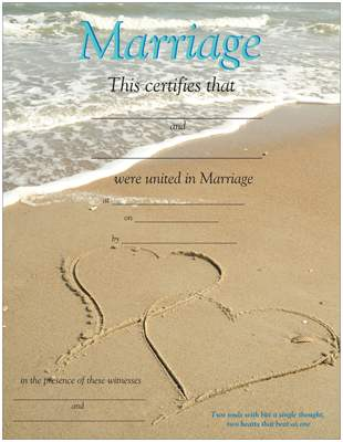 Promised Hearts Inc ~ ~: Beach Marriage Certificates