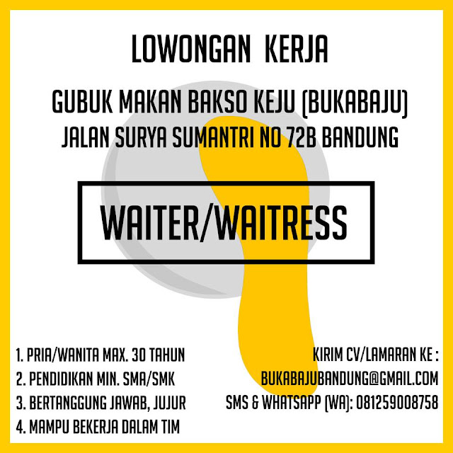 Lowongan Kerja Waiter / Waitress Bandung