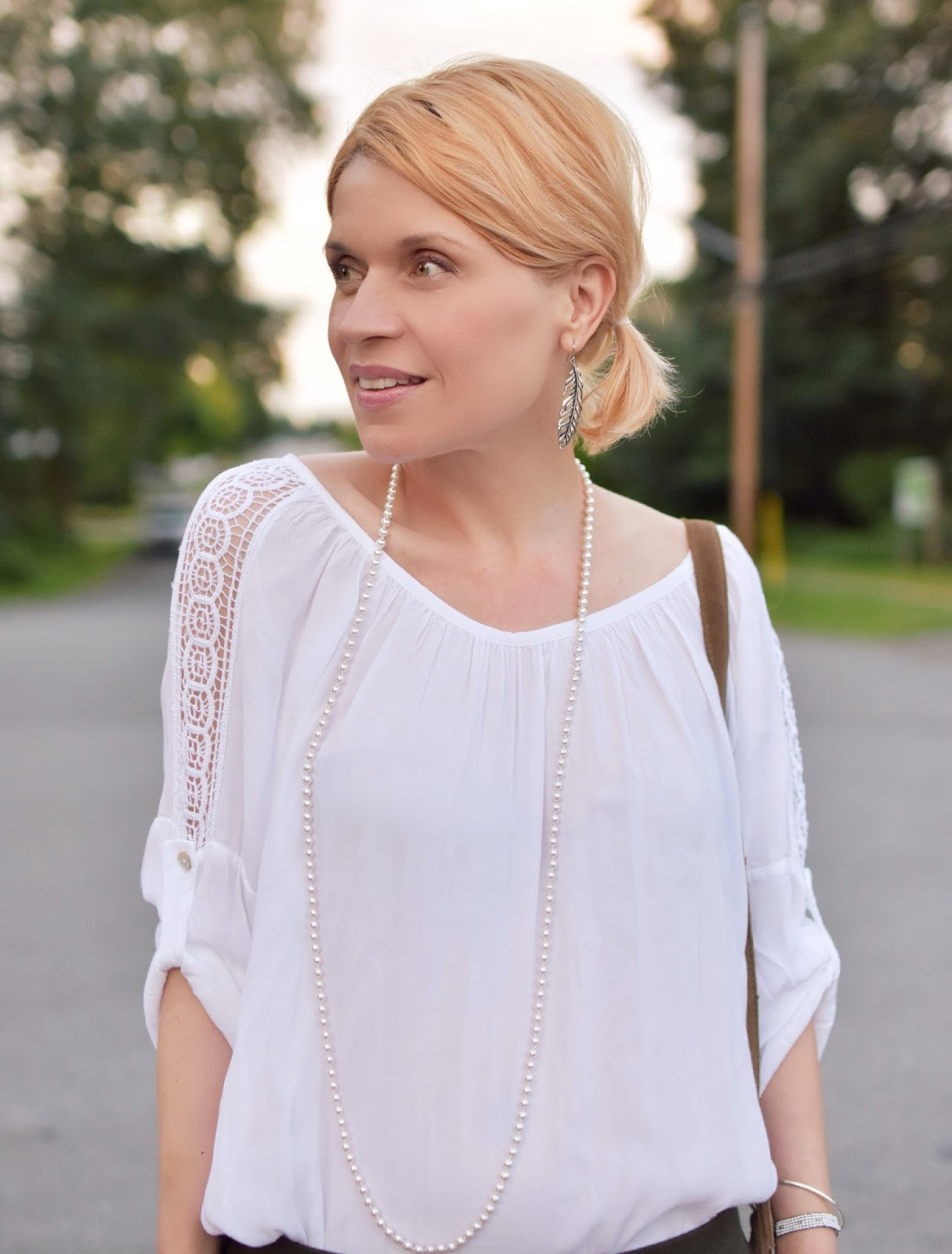 scoop-necked peasant blouse