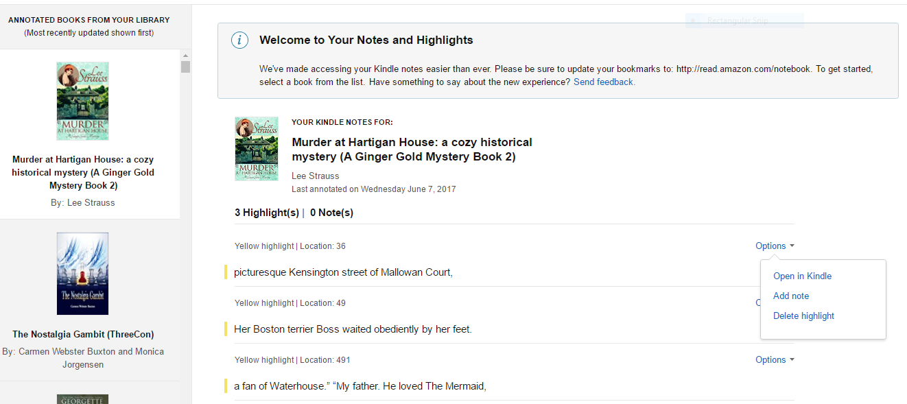 Carmen's Page: Amazon has redesigned the Kindle Highlights page