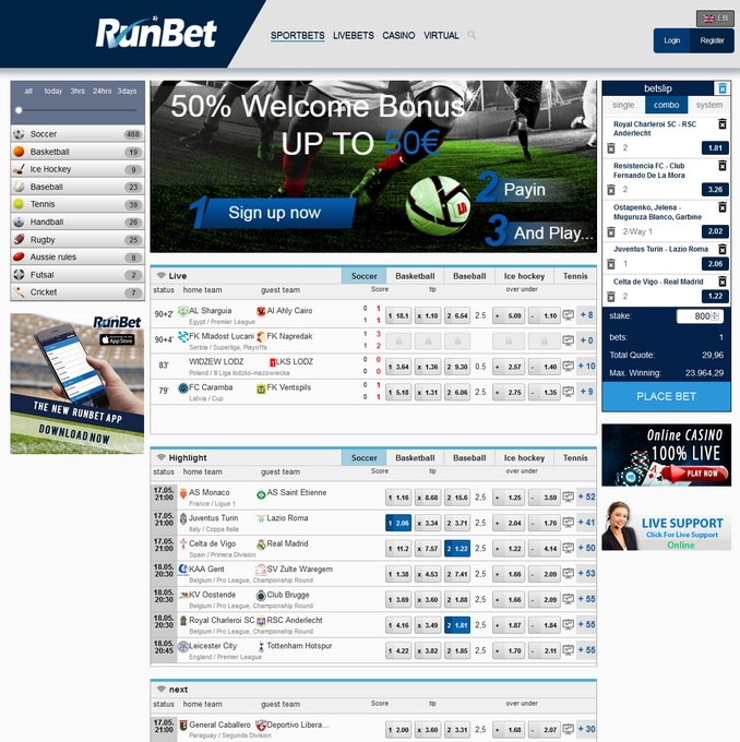 Runbet Screen