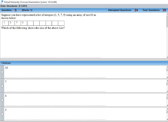 CS301 Current Mid Term Paper Question no 11