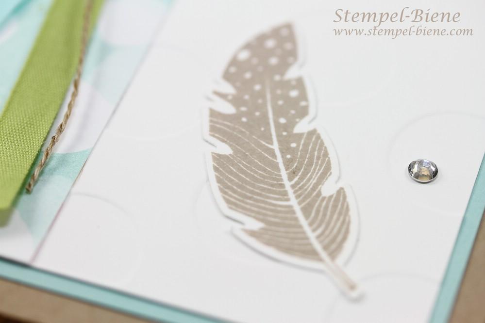 Stampin up Four Feathers, Grußkarte mit Federn, Match the Sketch, Stampin Up Frühjarskatalog, Stampin Up Sammelbestellung, Angebote der Woche