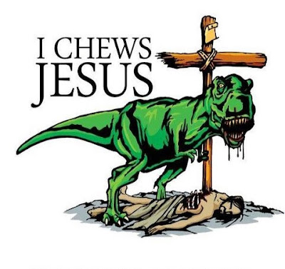 Funny I chews Jesus dinosaur eating Jesus pun