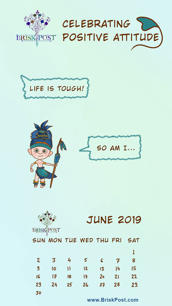 June 2019 calendar: Be Tough cartoon illustration in mobile wallpaper with pink-white background and message, Life is tough! So am I