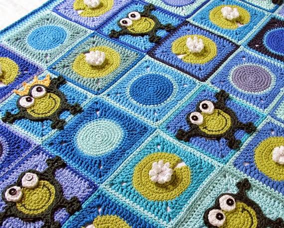 manta crochet con diseño de ranas
