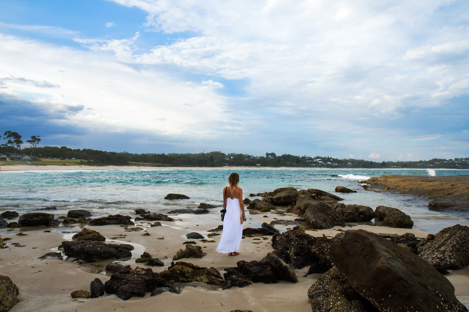 fashion and travel blogger, Alison Hutchinson, at Mollymook Beach in NSW, Australia