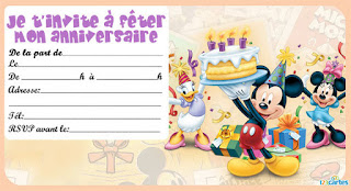 Carte anniversaire Mickey gratuite à imprimer