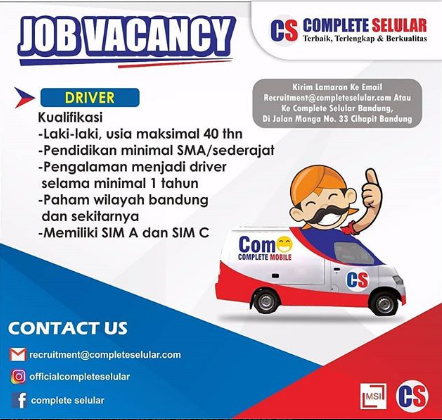 Lowongan Kerja Supir / Driver Bandung