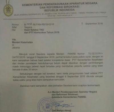 Hasil Tes CPNS Ditunda Sampai Pada Waktu Yang Tidak Ditentukan, Surat KemenPAN-RB