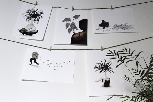 Inktober, Inktober 2016, plantas, ilustración a tinta, silueta humana, tinta, aguada de tinta, quink, tinta parker