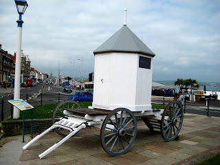 A replica of George III's bathing machine, Weymouth, Dorset