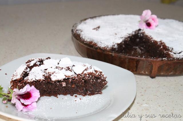 Tarta de almendras y chocolate sin gluten. Julia y sus recetas