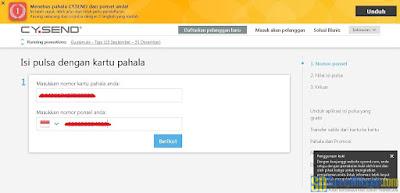 Melengkapi data pada formulir pengisian pulsa CY.Send | SurveiDibayar.com