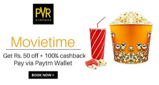 PVR Cinemas 100% Cashback Offer : Get Rs.50 Off + 100% Cashback Using Paytm Wallet