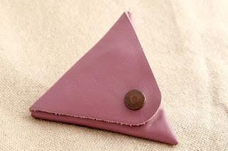 Porte monnaie en cuir rose fermé