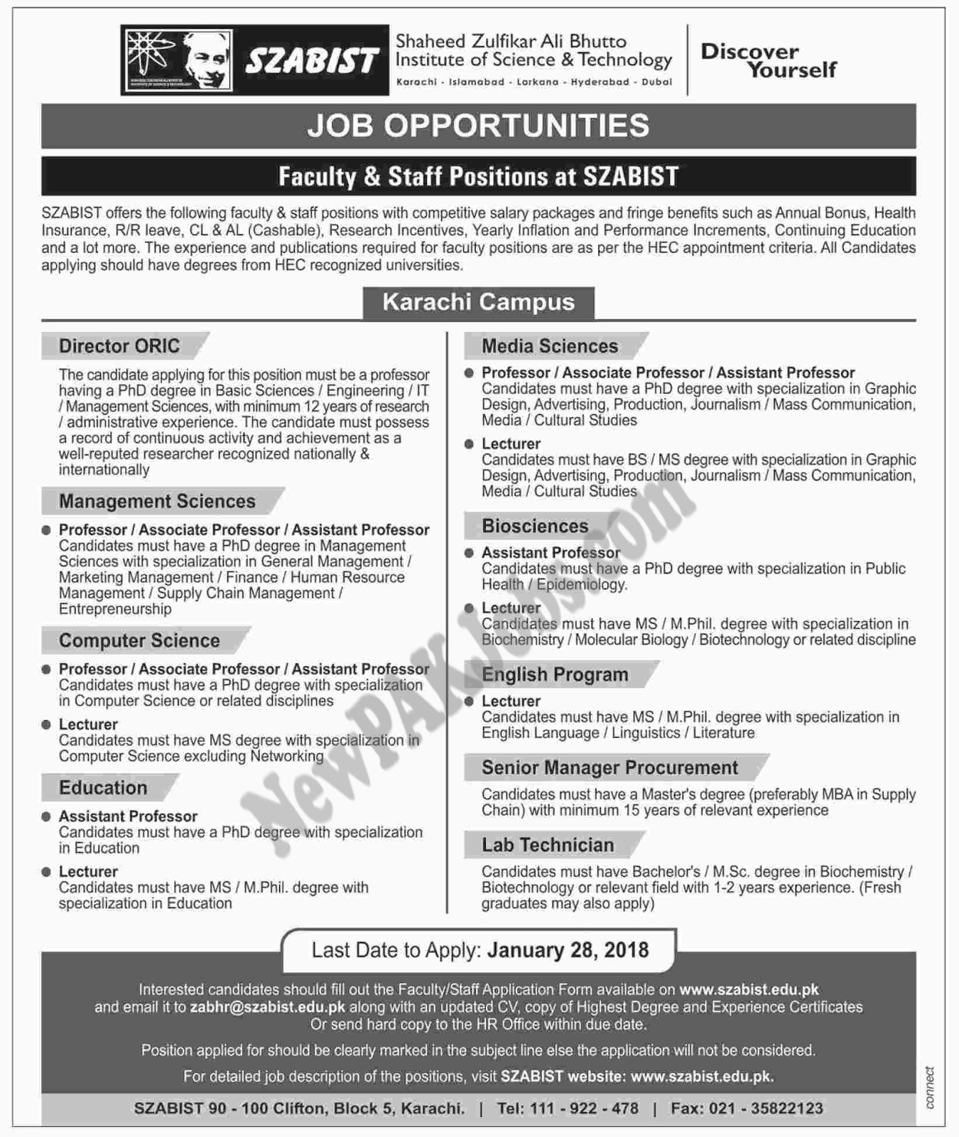 Today New Jobs in Shaheed Zulfikar Ali Bhutto Institute of Science And Technology ,Application Form