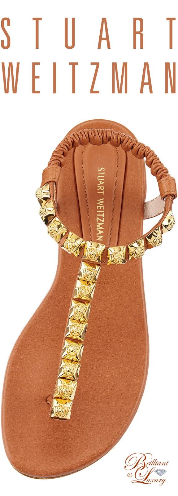 Brilliant Luxury ♦ Stuart Weitzman Esme Studdet Flat Thong Sandal