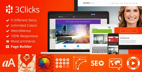 Free Download 3Clicks V3.7 Responsive Multi-Purpose WordPress Theme