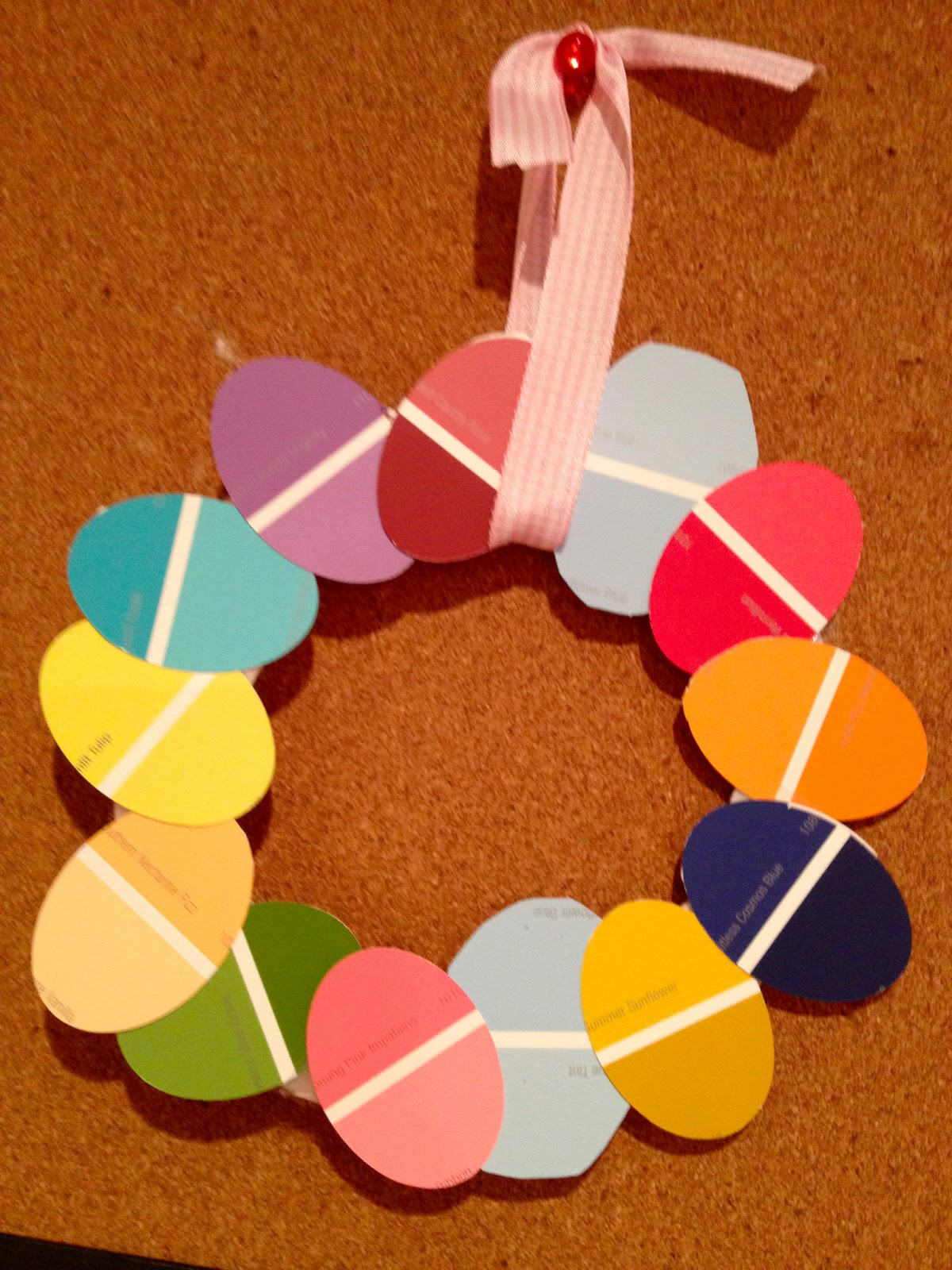 Two It Yourself Easter Egg Wreath From Paint Sample Swatches